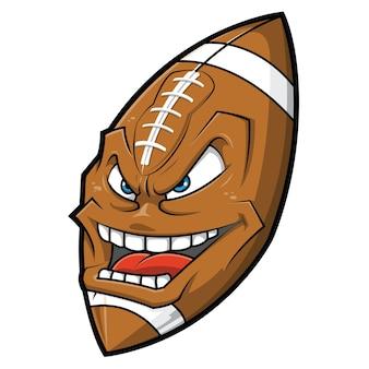 Dessin animé visage de football américain en colère