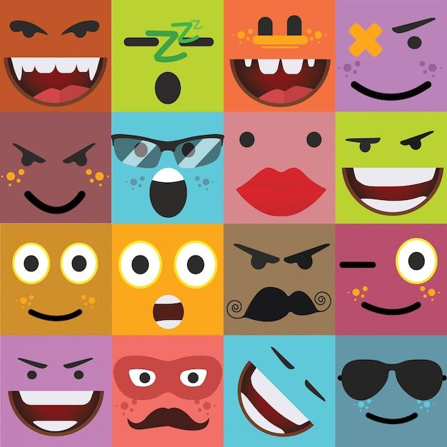 Dessin animé visages vecteur d'expressions