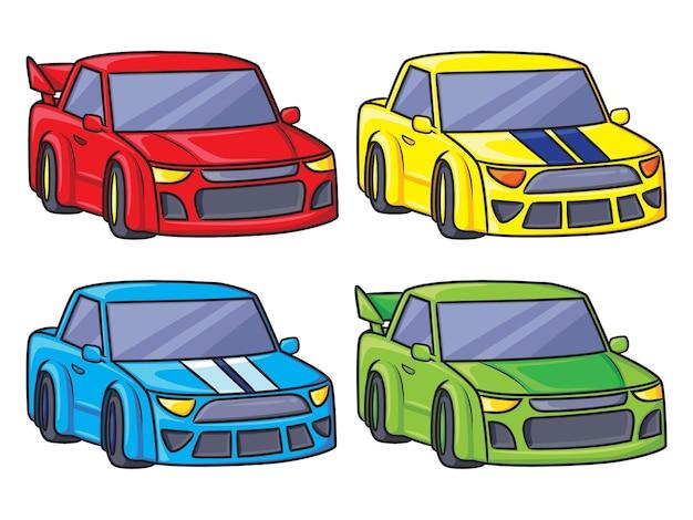 Dessin animé de voitures de course