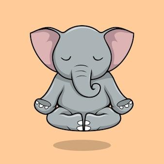 Dessin animé de yoga éléphant