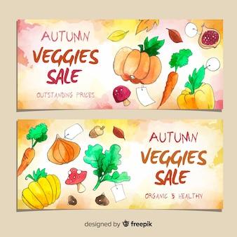 Dessin aquarelle de bannières de vente automne