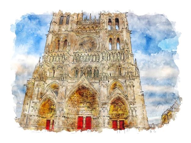 Dessin aquarelle cathédrale d'amiens