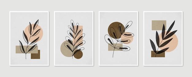 Dessin d'art de ligne de feuillage de boho avec l'ensemble de vecteur d'art de mur botanique de forme abstraite