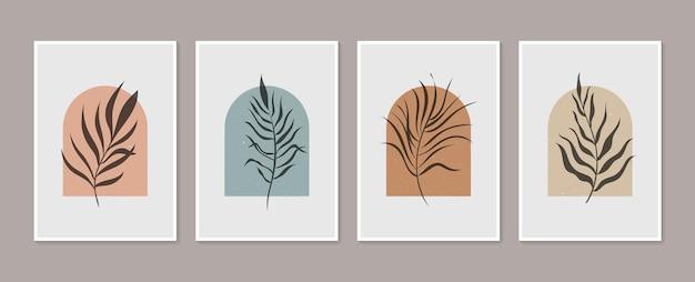 Dessin D'art De Ligne De Feuillage De Boho Avec L'ensemble De Vecteur D'art De Mur Botanique De Forme Abstraite Vecteur Premium