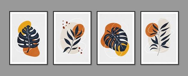 Dessin d'art de ligne de feuillage de boho avec la forme abstraite
