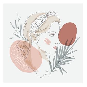 Dessin d'art en ligne fine du visage de la belle femme