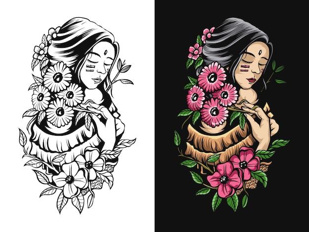 Dessin d'art noir blanc et couleur de fille avec une fleur