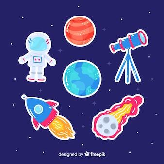 Dessin artistique de la collection de stickers de l'espace