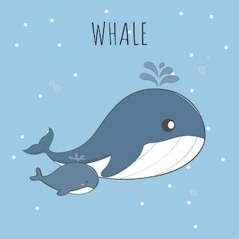 Dessin au pastel mignon bébé baleine et maman