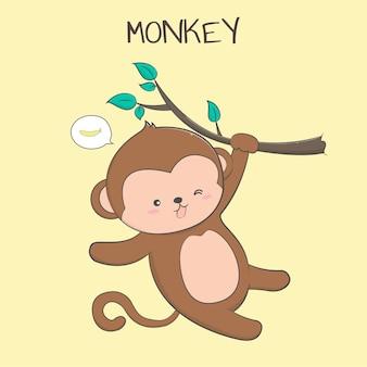 Dessin au pastel mignon singe bébé