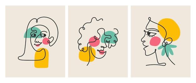 Dessin au trait abstrait de décoration d'art de mur de visage de femme