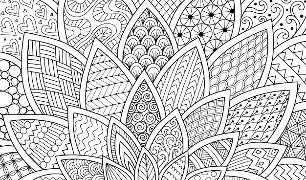 Dessin au trait abstrait de fleur pour le fond, illustration de livre de coloriage adulte