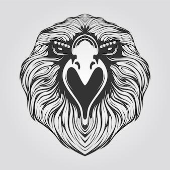Dessin au trait de l'aigle