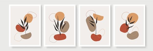 Dessin au trait boho feuillage avec forme abstraite. art végétal abstrait. style bohème de feuilles florales abstraites modernes