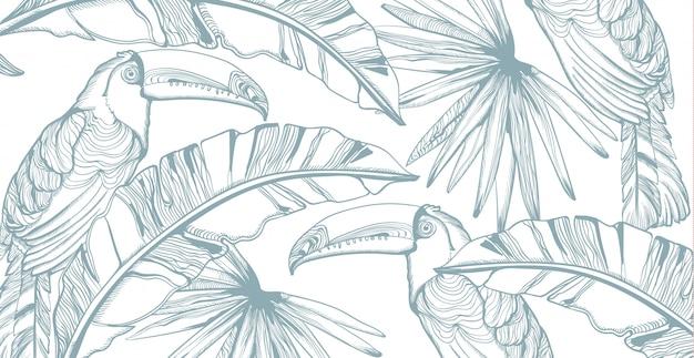 Dessin au trait de carte de perroquet. décors de feuilles de palmier exotiques. fête d'été