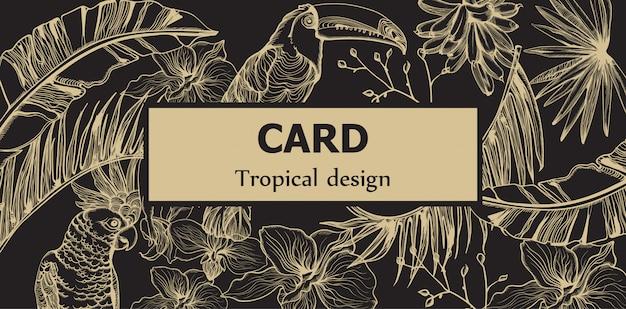 Dessin au trait de carte de perroquet de tropic. motif exotique laisse des décors