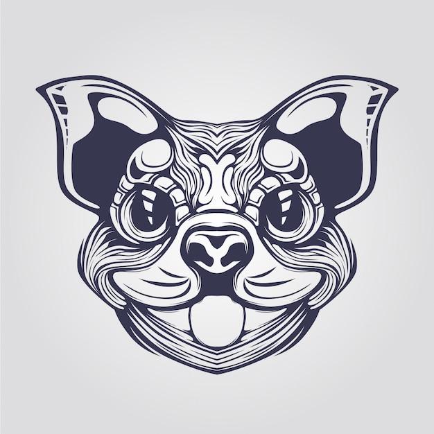Dessin au trait de chien cihuahua