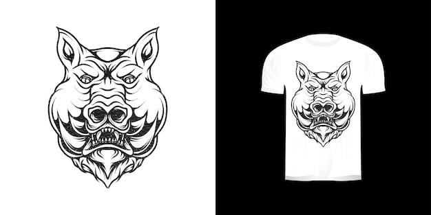 Dessin au trait cochon illustration pour la conception de tshirt