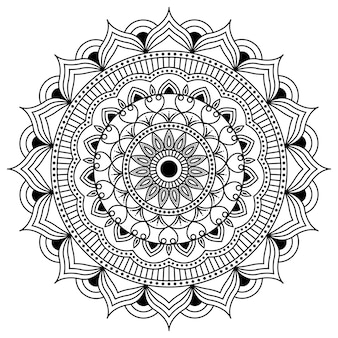 Dessin au trait de conception de mandala, art traditionnel de diwali rangoli, formes graphiques florales