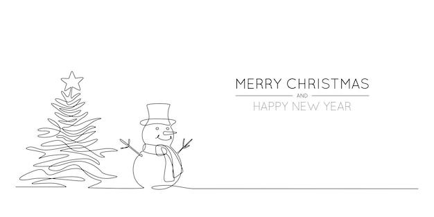 Dessin au trait continu d'arbre de noël et de bonhomme de neige au chapeau avec la bannière d'hiver festive d'écharpe dans