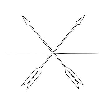 Dessin au trait continu arc flèche vector illustration