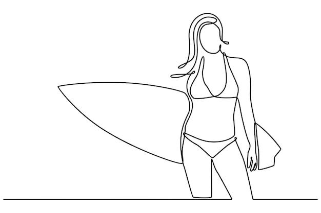 Dessin au trait continu de la belle jeune femme surfeuse en bikini avec planche de surf sur la plage