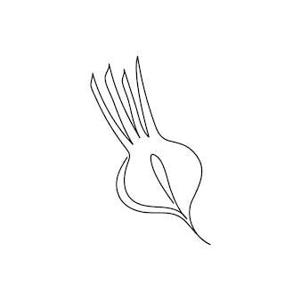 Dessin au trait continu de betterave coupée. un dessin au trait de betterave sucrière, légume.