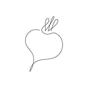 Dessin au trait continu de betterave. un dessin au trait de betterave sucrière, légume.