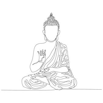 Dessin au trait continu de bouddha assis dans une illustration vectorielle de position de lotus