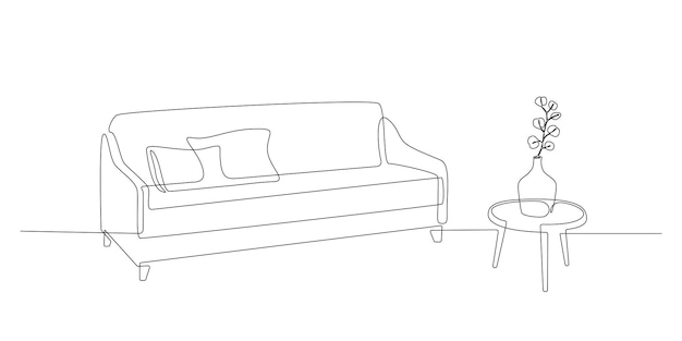 Dessin au trait continu d'un canapé et d'une table avec un vase avec des meubles modernes scandinaves végétaux en ...