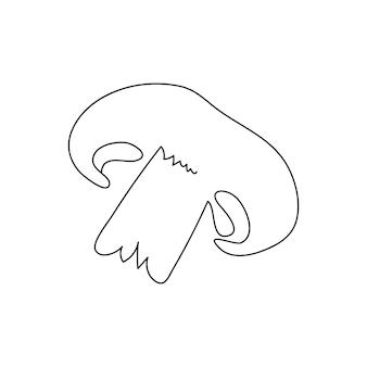 Dessin au trait continu de champignon. un dessin au trait de champignon coupé, légumes. illustration vectorielle dessinés à la main.
