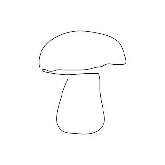 Dessin au trait continu de champignons porcins. un dessin au trait de champignon, légumes. illustration vectorielle dessinés à la main.