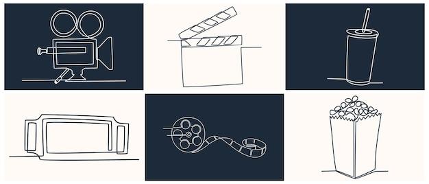Dessin au trait continu cinéma icon set vector illustration