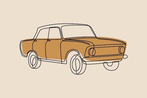 Dessin au trait continu classique de voiture vintage oneline