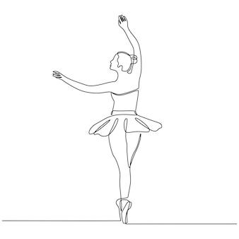 Dessin au trait continu de danseuse ballerine professionnelle en illustration vectorielle de jupe tutu