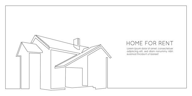 Un dessin au trait continu du concept à la mode de la maison moderne silhouette de l'architecture de la maison en m...