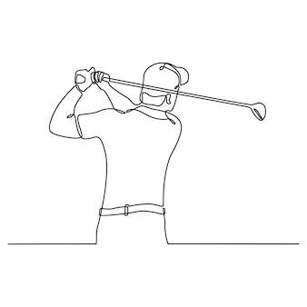 Dessin au trait continu du golfeur frappant la balle en plein essor pour concourir