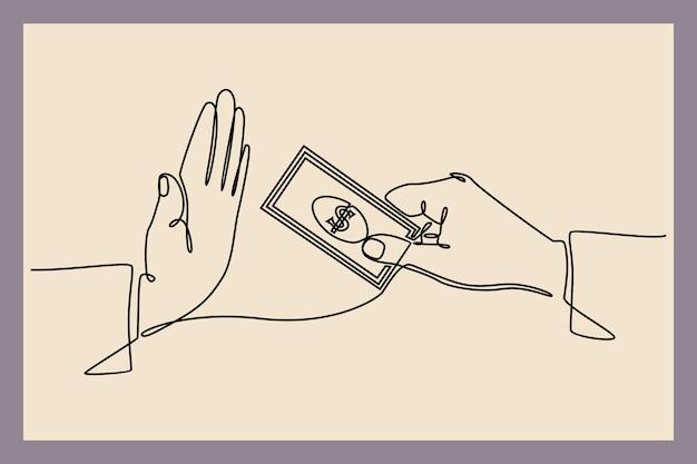 Dessin au trait continu du refus de payer des factures d'argent prêt de pot-de-vin et vecteur de concept de finance