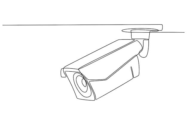 Dessin au trait continu du vecteur de croquis de caméra de vidéosurveillance de surveillance