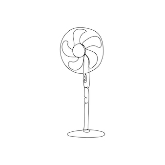 Dessin au trait continu du ventilateur dessin au trait d'un appareil ménager de refroidissement, climatisation, air frais