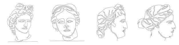 Dessin au trait continu du visage de l'illustration vectorielle de dieu grec