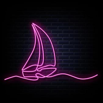 Dessin au trait continu de l'enseigne au néon de voilier