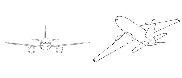 Dessin au trait continu ensemble d'avions transport concept vector illustration