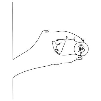 Dessin au trait continu équipe commerciale confiante debout dans l'illustration vectorielle de bureau