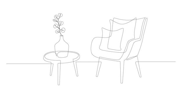 Dessin au trait continu d'un fauteuil et d'une table avec un vase avec des meubles élégants scandinaves...