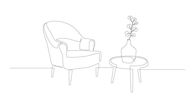 Dessin au trait continu d'un fauteuil et d'une table avec vase avec des meubles modernes scandinaves végétaux...