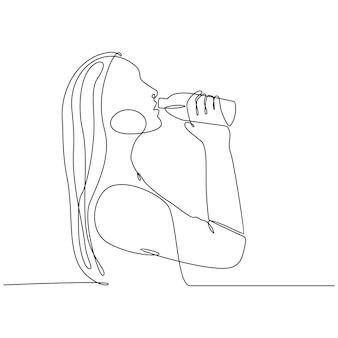 Dessin au trait continu de femme buvant de l'eau à partir d'une illustration vectorielle de bouteille