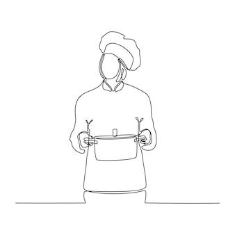 Dessin au trait continu de femme chef avec wok portant illustration vectorielle