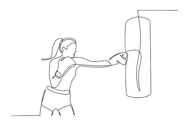 Dessin au trait continu d'une femme pratiquant la boxe vecteur