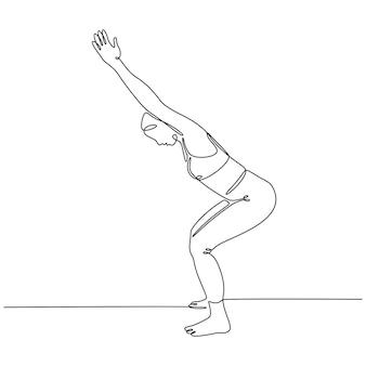 Dessin au trait continu femme pratiquant le concept de fitness yoga illustration vectorielle